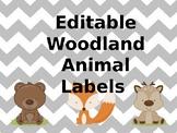 Editable Woodland Animal Labels
