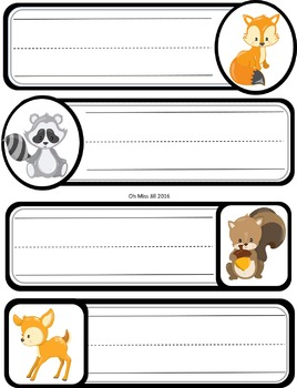 Editable Woodland Animal Name Tags