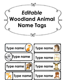 Editable Woodland Animal Name Tags