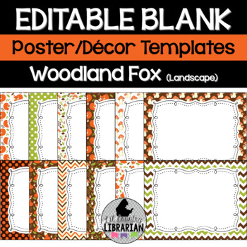 Editable Woodland Fox Posters PowerPoint Forest Animals {Landscape Version}