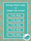 Editable Word Cards for Shabby Chic Lovers