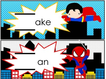 Editable Part 2 Word Families Super Hero Word Family Games and Sight Word Masks