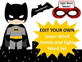 Editable Part 2 Word Families Super Hero Word Family Games