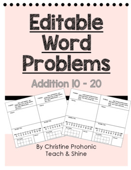 Editable Word Problems - Sums 10 - 20