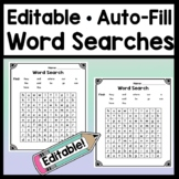 Editable Word Searches {Easy, Auto-Fill!} {Editable Spelli