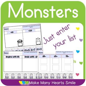 Editable Word Sorts: Monsters