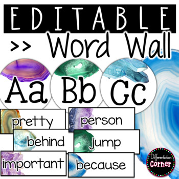 Editable Word Wall- Agate Classroom Decor