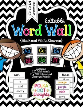 Editable Word Wall {Black and White Chevron}