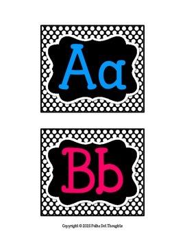 Editable Word Wall {Black and White Polka Dots}