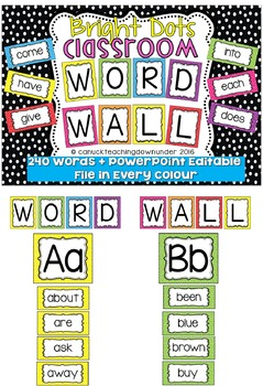 *Editable* Word Wall 'Bright Dots' Classroom Theme