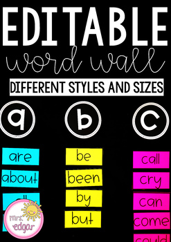 Editable Word Wall   Bright and Bold