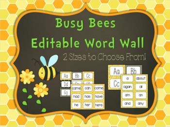 Editable Word Wall: Busy Bee
