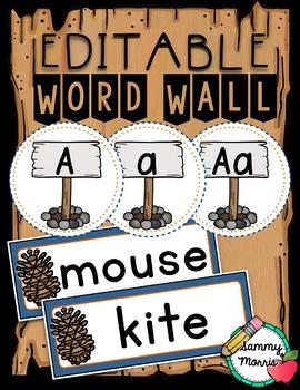 Camping Word Wall - Editable