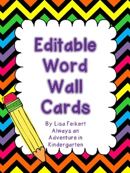Editable Word Wall Cards-Black and Bold