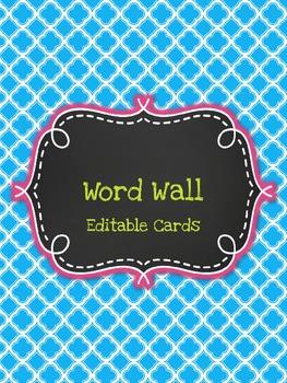 Editable Word Wall Cards (Fancy Neon Chalkboard)