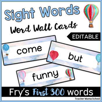Editable Word Wall Cards - Fry First 300 (Watercolor Hot A