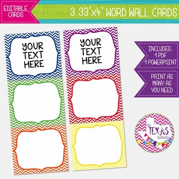 Word Wall Cards - Primary Chevron Colors {EDITABLE}