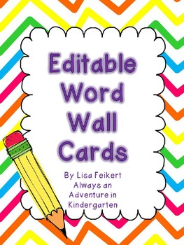 Editable Word Wall Cards-Rainbow Chevron