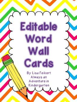 Editable Word Wall Cards-Rainbow Chevron