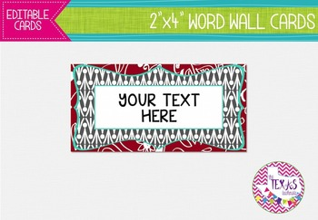 Word Wall Cards - Red, Aqua and Grey {EDITABLE}