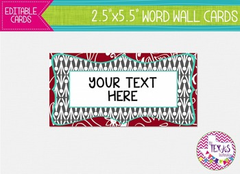Word Wall Cards - Red, Grey and Aqua {EDITABLE}