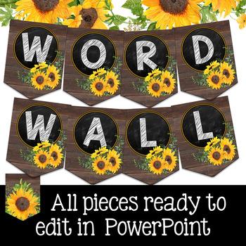 Editable Word Wall- Farmhouse Classroom Decor