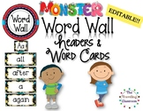 Editable Word Wall Headers & Word Cards Monster Theme