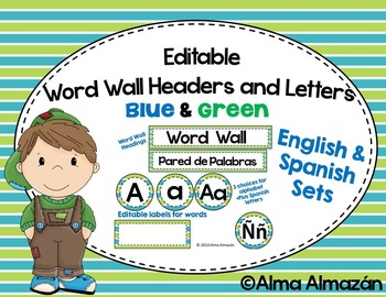 Editable Word Wall Headers and Letters Teal and Green