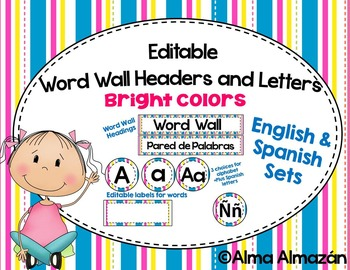 Editable Word Wall Headers and Letters Bright