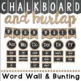 Editable Word Wall In Chalkboard and Burlap Classroom Decor Theme