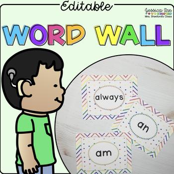 Editable Rainbow Word Wall