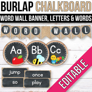 Editable Word Wall Letters, Word Wall Words, Buralp Chalkboard Classroom Labels