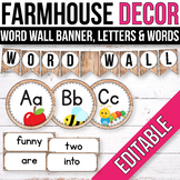 Editable Word Wall Letters, Word Wall Words, Farmhouse Classroom Labels