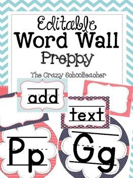 Editable Word Wall {PREPPY}