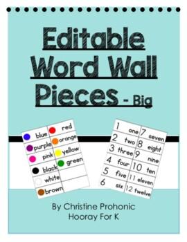Editable Word Wall Pieces - Big