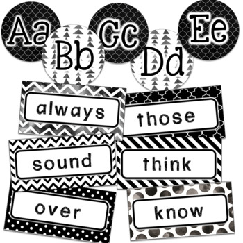 Editable Word Wall Set- Black and White Classroom Decor