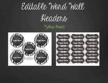 Editable Word Wall Sight Word Cards with Alphabet Headers