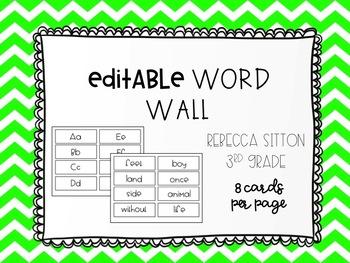 Editable Word Wall - Sitton 3rd Grade