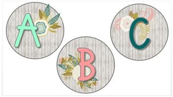 Editable Word Wall Template (Farmhouse Shiplap & Whimsy Flowers)