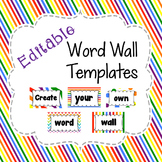 Editable Word Wall Template in Primary Rainbow Patterns
