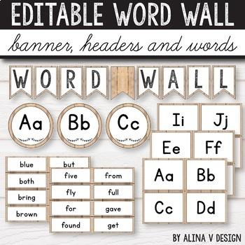 Editable Word Wall Letters - Farmhouse Classroom Decor