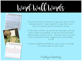 """Editable Word Wall and """"One Page Writing"""" Practice"""