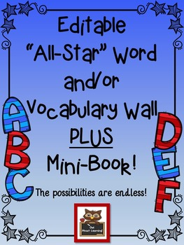 Editable Word Wall or Vocabulary Word Wall Display with Printable Mini Book!