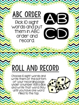 Editable Word Work Labels: Blue/Green/Yellow Chevron