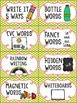 Editable Word Work Labels: Lime Polka Dot
