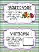 Editable Word Work Labels: Multi Stripe