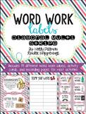 Editable Word Work Labels: Diagonal Multi Stripe