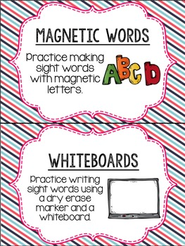 Editable Word Work Labels: Diagonal Multi Stripe