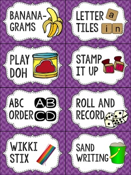 Editable Word Work Labels: Purple Herringbone