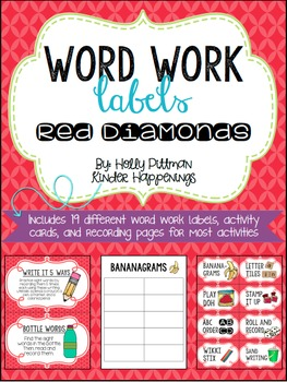 Editable Word Work Labels: Red Diamonds